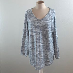Pure Jill Heathered Blue Sweater with Pockets